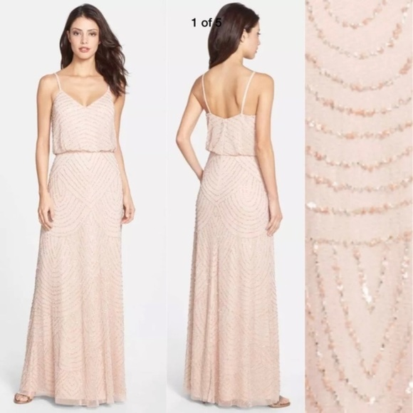 a8c52baf Adrianna Papell Dresses | New Beaded Blouson Gown In Blush | Poshmark